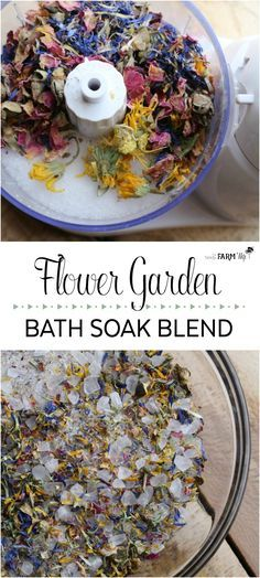 Flower Garden Bath Soak - This beautiful soak, filled with colorful flowers and a pretty floral scent, is reminiscent of a walk through a flower garden on a lovely spring day. You can use any combination of dried flowers that you like. For this batch show Diy Beauté, Diy Spa, Diy Crafts, Bath Recipes, Soap Recipes, Diy Cosmetic, Beauty Recipe, Diy Hacks, Home Made Soap