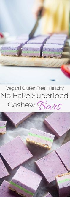 No Bake Superfood Berry Cashew Cream bars - These vegan bars are naturally colored with fruit and vegetables! They're so creamy you'll never know they're healthy and dairy and gluten free! Perfect for Mother's Day! #Foodfaithfitness #Dessert #Nobake #Superfood #Glutenfree #Mothersday