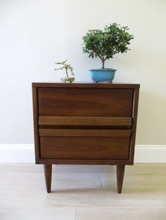Mid Century End Table Walnut Night By Soulfulvintage Furniture