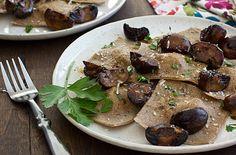 asparagus ravioli with seared cremini mushrooms