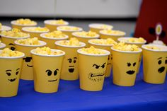 All you need are yellow Wal Mart party cups, a Sharpie and popcorn! Constructed and photographed by Stacey Black. Lego Movie Party, Ninjago Party, Lego Birthday Party, Boy Birthday Parties, 5th Birthday, Party Cups, Tea Party, Popcorn Cups, Happy Birthday Boy