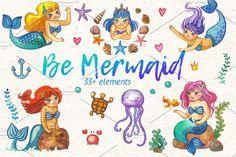 Be Mermaid watercolor illustrations  by Ann-zabella on @creativemarket