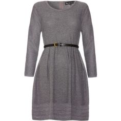 Mela Loves London Knitted long sleeve dress (€41) ❤ liked on Polyvore featuring dresses, grey, women, grey dress, grey cotton dress, waist belt, gray cotton dress and cotton fit and flare dress