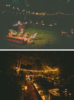LOVE, LOVE, LOVE this! The seating arrangements and twinkle lights (not to mention decorative touches) at this 40th birthday party are just perfect!