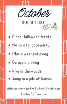 October Bucket List from - The little thins - Event planning, Personal celebration, Hosting occasions Monthly Celebration, Bucket List Family, Yearly Calendar, Life List, Months In A Year, Tandem, Happy Fall, Happy Planner, Holiday Fun