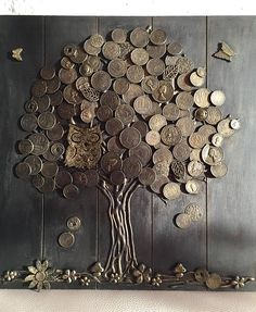 Money tree (good luck) - the most effective talisman of wealth in Chinese teaching Feng Shui. Decorate by this talisman the house and draw prosperity into your life! We used wooden base,tree trunk made of natural wood bark and to crown used these coins of