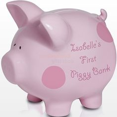 This cute pink ceramic polka dot Personalised Piggy Money Box is the perfect for any little girl's savings.Personalise this money box with the child's name up to 12 characters, please include the 's in the personalisation field. The wording 'First Piggy Bank' comes as standard text.Suitable for any occasion, makes the perfect keepsake for any special little one.Measures Height: 13 CM Width: 14 CM Depth: 12 CM.