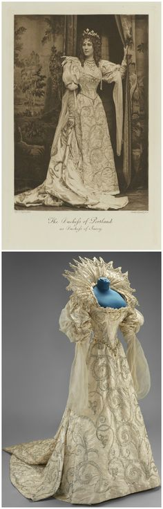 "Above: Winifred Anna, Duchess of Portland as Duchess of Savoy, by Alice Hughes, photogravure by Walker & Boutall, 1897. © National Portrait Gallery, London. Below: Fancy dress costume consisting of embroidered silver satin dress and lace ruff, ""Duchess of Savoia,"" England, early 1897. Worn by the Duchess of Portland as ""Duchess of Savoia"" to the Duchess of Devonshire's Fancy Dress Ball, July 2, 1897. © Victoria and Albert Museum, London. CLICK FOR LARGER IMAGES."