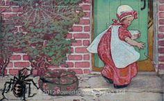 """Little Miss Muffet - Jessie Willcox Smith - This fine-art advanced cross stitch design is considered the """"Mona Lisa"""" of children's book illustrations. It was completed in 1913 by Jessie Willcox Smith for the January 1913 cover of Good Housekeeping magazine. Smith so perfectly captured the alarm and fright Little Miss Muffet must have felt. Poor little (big!) spider just wanted to share in the porridge. Old Fashioned Pudding Recipe, Rose Girl, Clip Art, Wolf Moon, Mother Goose, Weird Creatures, Little Miss, Nursery Rhymes, Large Prints"""
