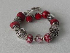 Rhian Handmade Beaded Bracelet Lampwork by bdzzledbeadedjewelry, $34.00