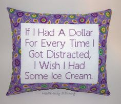 Funny Cross Stitch Pillow Purple Pillow Distracted by NeedleNosey, $23.00