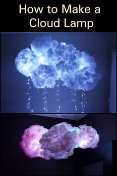 Why spend thousands of dollars on a cloud lamp when you can DIY one? Diy Cloud Light, Cloud Lights, Diy Cloud Lamp, Cloud Bedroom, Galaxy Bedroom, Room Ideas Bedroom, Diy Room Decor, Cloud Lantern, Hanging Clouds
