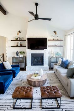 10 Wonderful Cool Tips: Small Living Room Remodel Thoughts living room remodel on a budget brick fireplaces.Living Room Remodel On A Budget Simple living room remodel ideas small spaces.Living Room Remodel Ideas With Fireplace. Rectangular Living Rooms, Small Living Rooms, My Living Room, Home And Living, Living Room Designs, Living Spaces, Cozy Living, Blue Living Room Chairs, Blue Chairs