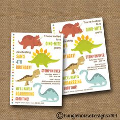"Dinosaur Birthday Party Invitation DIY PRINTABLE Cute ""Happy Dinosaurs"" Party for Boy on Etsy, $14.00"