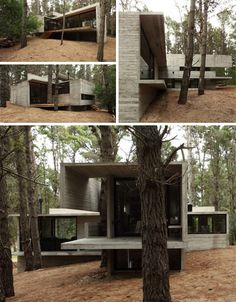 By combining cool concrete and warm wood, this cozy cabin by BAK Architects Farmhouse Architecture, Residential Architecture, Architecture Details, Modern Architecture, Patio Design, House Design, Design Design, Tiny House Cabin, Open House