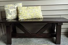 Cute DIY bench!!! - cost ~$10 (Easy... uses 2x4s and 1x4s.)- want to make this!!!