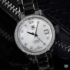 The White Mother of Pearl dial shines brilliantly surrounded by all those diamonds, doesn't it? The TAG Heuer Carrera Calibre 9 Diamond Dial and Diamond Bezel available in store!  #DontCrackUnderPressure