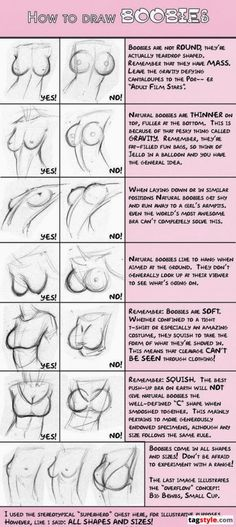 How to draw B00bs   these things are usually ridiculous, so it's nice that this is super feminist in that it's quite forward-thinkingly and in realistic detail talking about what boobs really look like-  something that isn't acknowledged in anything mainstream. so for it to come up on a usually spammy facebooj page is really really cool.
