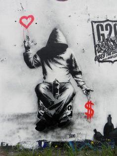 Art.  This one by Banksy.  www.askamantoo.com  @askamantoo