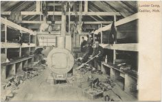 https://flic.kr/p/ahpr9m   NW Cadillac MI GREAT Lumber Camp Bunkhouse Interior Logging Lumber Jacks Large Woodburner Look at all the Boots and Shoes Photographer Unknown Unsent