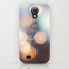 The Bright Side iPhone & iPod Case #strigel #samsung #galaxy #case #s4 #always #look #on #the #bright #side #of #life #quote #bokeh #lights #case #cover