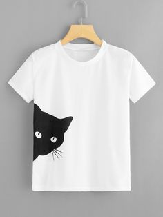 478f9b764 Casual Cartoon Regular Fit Round Neck Short Sleeve Pullovers White Regular  Length Cat Print Tee