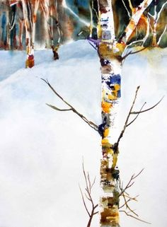 Birches in Snow, painting by artist Kay Smith