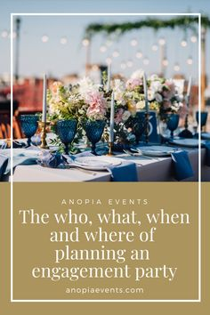 Everything you need to know when planning your outdoor or garden engagement party. Engagement Party Planning, Engagement Parties, Engagement Party Decorations, Table Decorations, How To Plan, Garden, Outdoor, Inspiration, Outdoors
