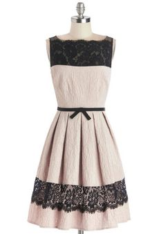 Birthday Soiree Dress - Mid-length, Woven, Pink, Black, Bows, Lace, Pleats, Cocktail, A-line, Sleeveless, Better, Party, Fit & Flare holiday dress new years dress christmas dress