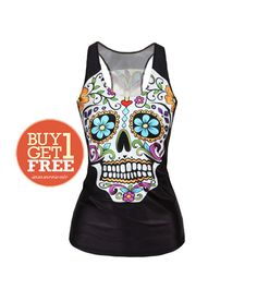Day of the Dead Skull Tank Top Workout Tank Tops Sugar Skull Running Tank Workout Tanks for Women- Not skull Bracelet Ring leggings -G007 on Etsy, $15.90