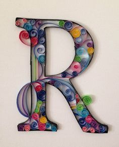 R paper quilling от FilledWithWhimsy на Etsy
