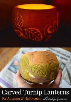 In Britain it's more traditional to carve turnips than pumpkins for Halloween! Here's how to carve one of your own into a glowing candle votive...just perfect for Autumn parties