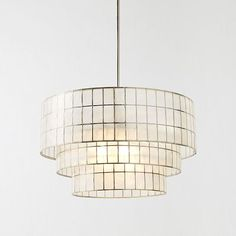 Capiz Tiered Chandelier, White/Polished Nickel from west elm for over dining room table West Elm Chandelier, Capiz Chandelier, Mobile Chandelier, 3 Light Chandelier, Linear Chandelier, Contemporary Chandelier, Pendant Lighting, Chandeliers Modern, Glass