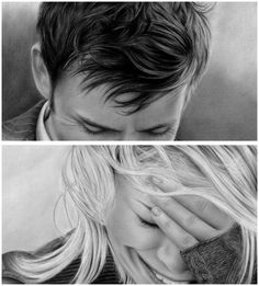 A pencil drawing of Ten and Rose.....(Doctor Who)