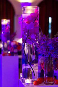 Orchids in Vase - Purple Wedding Inspiration