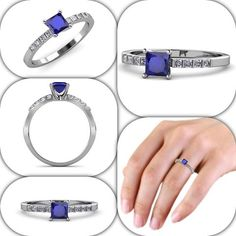 Something Blue! Blue Sapphire and Diamond Engagement Ring For Your Love one!!! - EXTRA 10% OFF - Price Match Guarantee  #love #gift #diamond #engagementring #finejewelry #trijewels