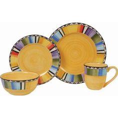 Amazon.com: Gibson Fandango 16-Piece Dinnerware Set, Gold/Various: Kitchen & Dining