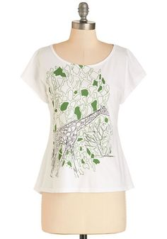 All's Well that Blends Well Tee - Mid-length, Cotton, Knit, White, Green, Print with Animals, Print, Casual, Critters, Short Sleeves, Spring