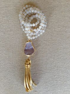 Beaded Necklace with Druzy and Tassel by GoldenstrandJewelry