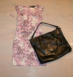 Friday Happy Hour Leaf Print Dress by French Connection $158 Leather Handbag by Latico $174 Teardrop Woven Earrings by iSOBEL $74