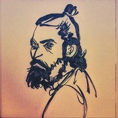 "#sketchoftheday is a #portrait #drawing of #sktchyapp user ""adhil rahman"" using #Pentel brush pen #prisma and #pixlr ...#art #manbun #beard"