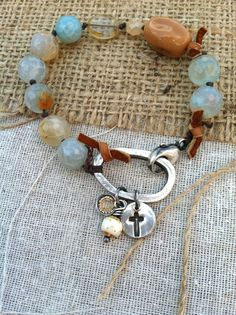 Rustic Silver Bracelet Collection  Blue by MadisonReeceDesigns, $58.00