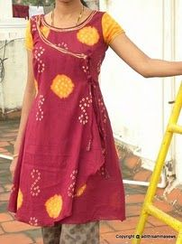 Sweet wrap  tunic! I like this. It would really cool and east Indian with a pair of shalwar.