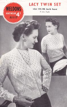 weldon a1117 lacy twins et butter fly design 1940s