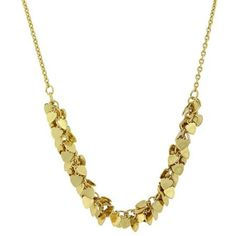 """1928 Jewelry Womens 14K Gold-Dipped Cluster Heart Vintage Fashion Necklace 16"""""""