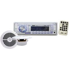 Pyle PLMRKT34Wt In-Dash Marine AM/FM/MP3/WMA Receiver with Two 6.5 inch Speakers