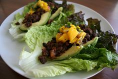 Maple Chipotle Black Bean Lettuce Wraps with Mango Salsa (vegan, gluten free) - This sweet, smoky, and spicy wrap is loaded with flavor. Perfect for a light lunch!