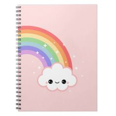 Pink Rainbow Sparkle Cloud Spiral Note Book