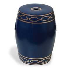 "Scalamandre Maison at PORT 68 Name: Pavillion Indigo Garden Stool  SKU: ACFS-229-04 Size: 18""H x 14""D"