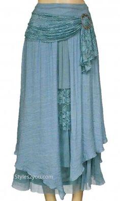 Antique Belted Skirt In Aqua